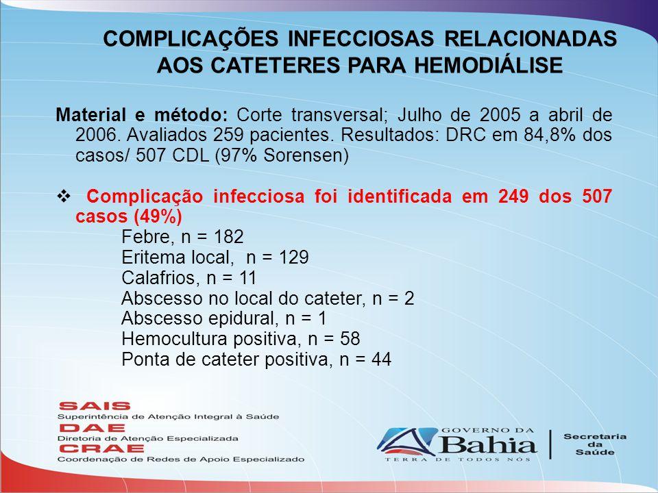 Material e método: Corte transversal; Julho de 2005 a abril de 2006. Avaliados 259 pacientes. Resultados: DRC em 84,8% dos casos/ 507 CDL (97% Sorense