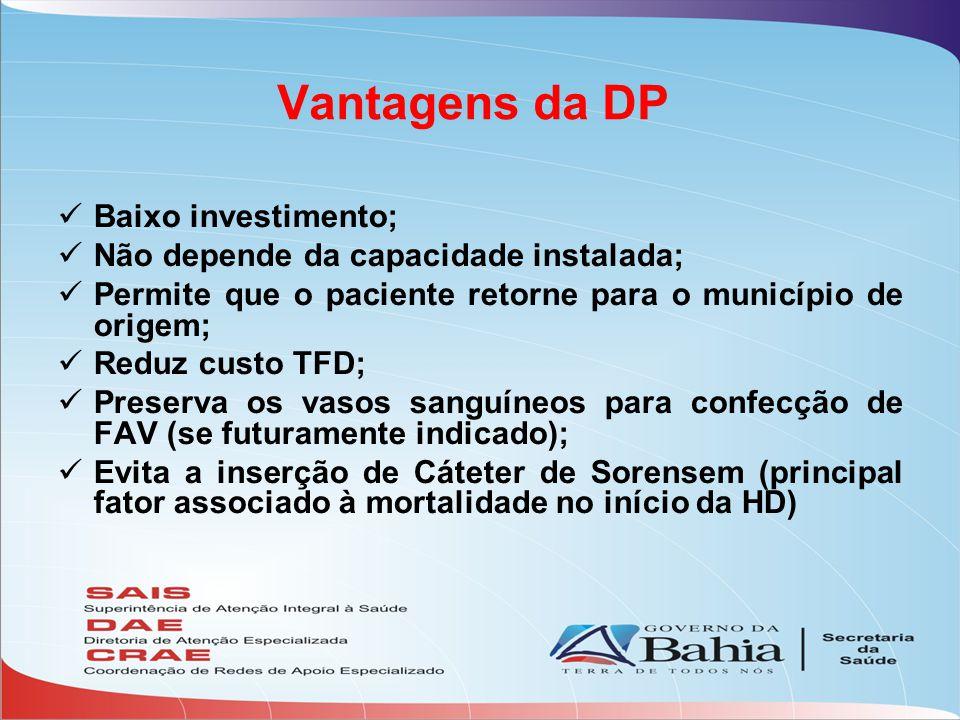 Vantagens da DP Baixo investimento; Não depende da capacidade instalada; Permite que o paciente retorne para o município de origem; Reduz custo TFD; P