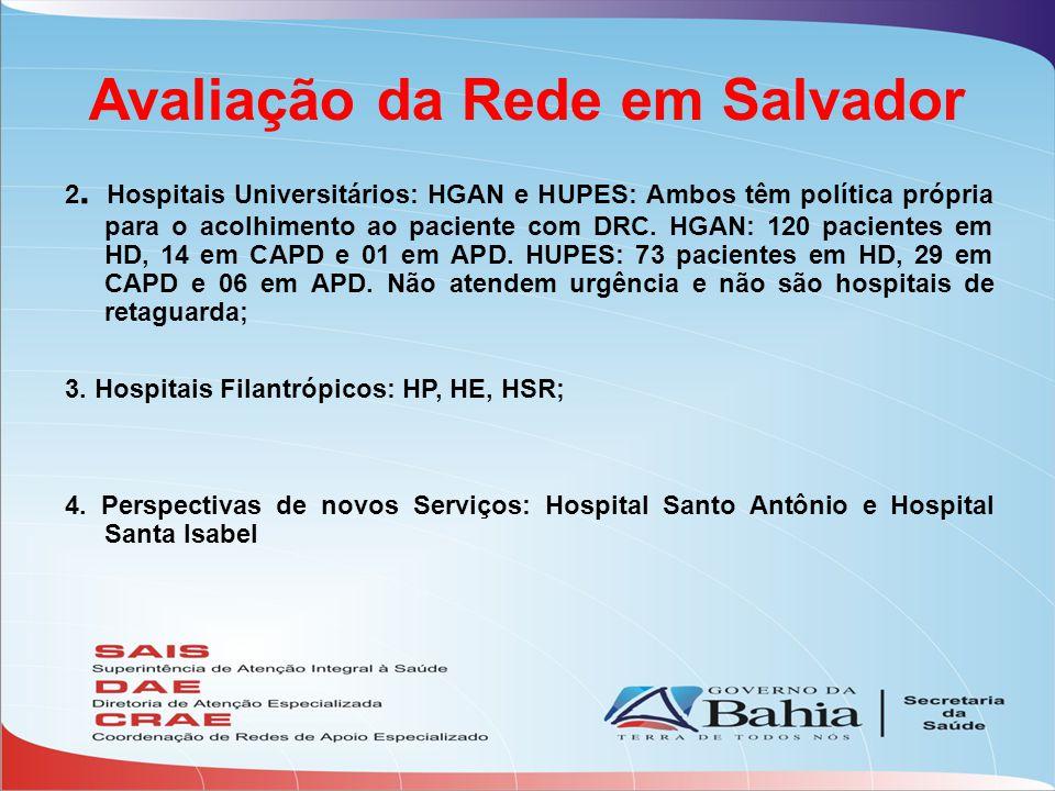 Avaliação da Rede em Salvador 2. Hospitais Universitários: HGAN e HUPES: Ambos têm política própria para o acolhimento ao paciente com DRC. HGAN: 120
