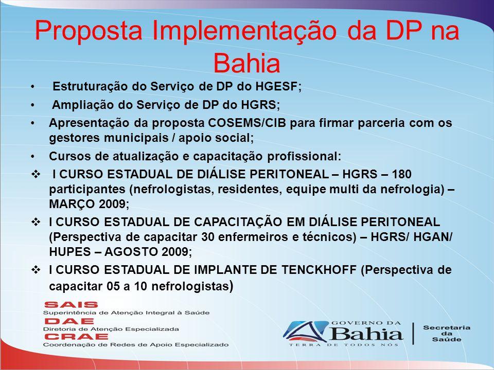 Proposta Implementação da DP na Bahia Estruturação do Serviço de DP do HGESF; Ampliação do Serviço de DP do HGRS; Apresentação da proposta COSEMS/CIB