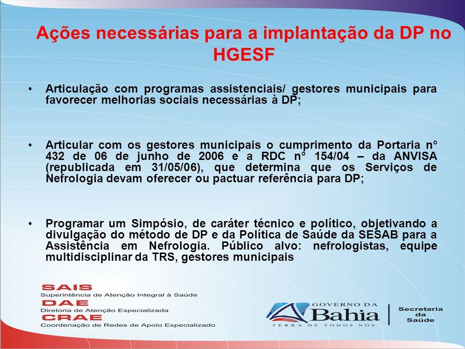 Ações necessárias para a implantação da DP no HGESF Articulação com programas assistenciais/ gestores municipais para favorecer melhorias sociais nece