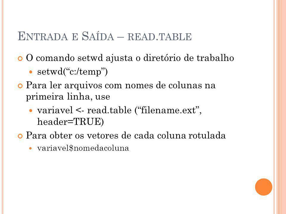 """E NTRADA E S AÍDA – READ. TABLE O comando setwd ajusta o diretório de trabalho setwd(""""c:/temp"""") Para ler arquivos com nomes de colunas na primeira lin"""