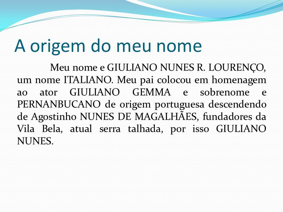 A origem do meu nome Meu nome e GIULIANO NUNES R. LOURENÇO, um nome ITALIANO.