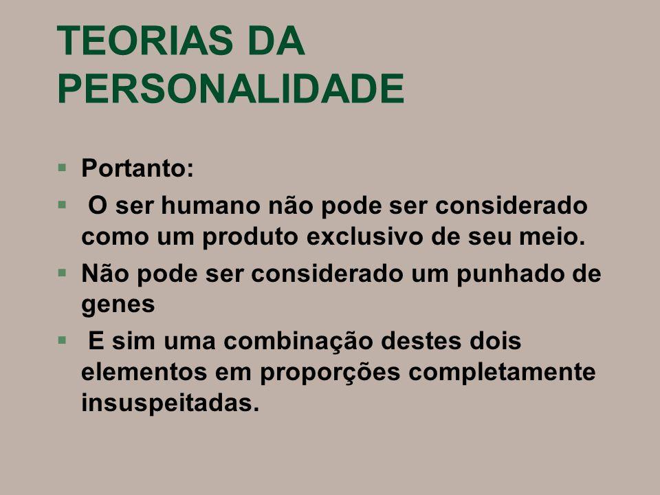 TEORIAS DA PERSONALIDADE Classificação da Personalidade: Duas disposições básicas: §Introvertida §Extrovertida