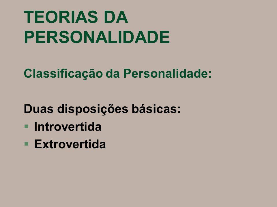 TEORIAS DA PERSONALIDADE Quatro funções associadas: §Pensamento §Sentimento §Sensação §Intuição