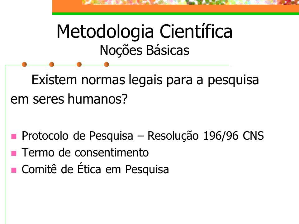 Existem normas legais para a pesquisa em seres humanos? Protocolo de Pesquisa – Resolução 196/96 CNS Termo de consentimento Comitê de Ética em Pesquis