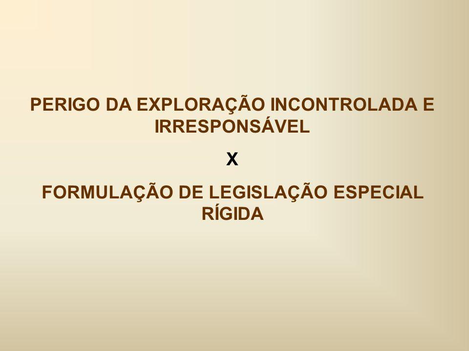 PERIGO DA EXPLORAÇÃO INCONTROLADA E IRRESPONSÁVEL X FORMULAÇÃO DE LEGISLAÇÃO ESPECIAL RÍGIDA