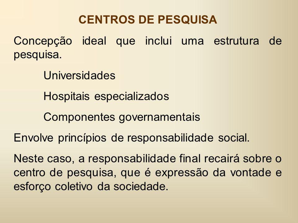 CENTROS DE PESQUISA Concepção ideal que inclui uma estrutura de pesquisa.