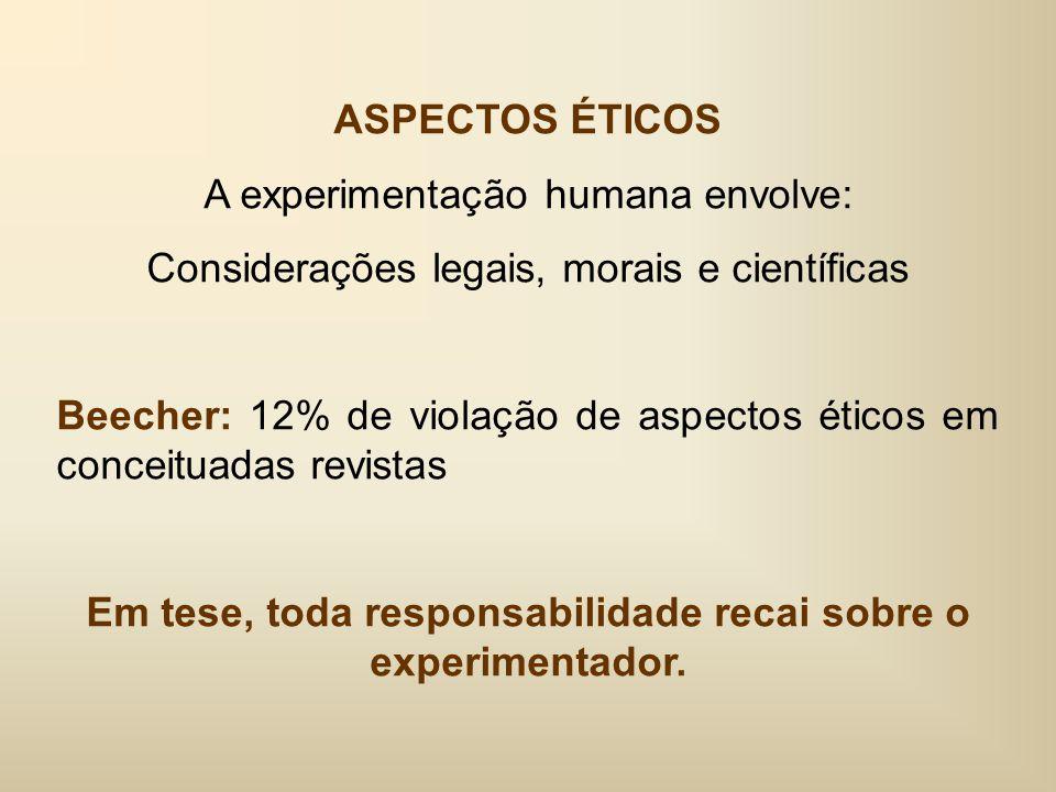 ASPECTOS ÉTICOS A experimentação humana envolve: Considerações legais, morais e científicas Beecher: 12% de violação de aspectos éticos em conceituadas revistas Em tese, toda responsabilidade recai sobre o experimentador.
