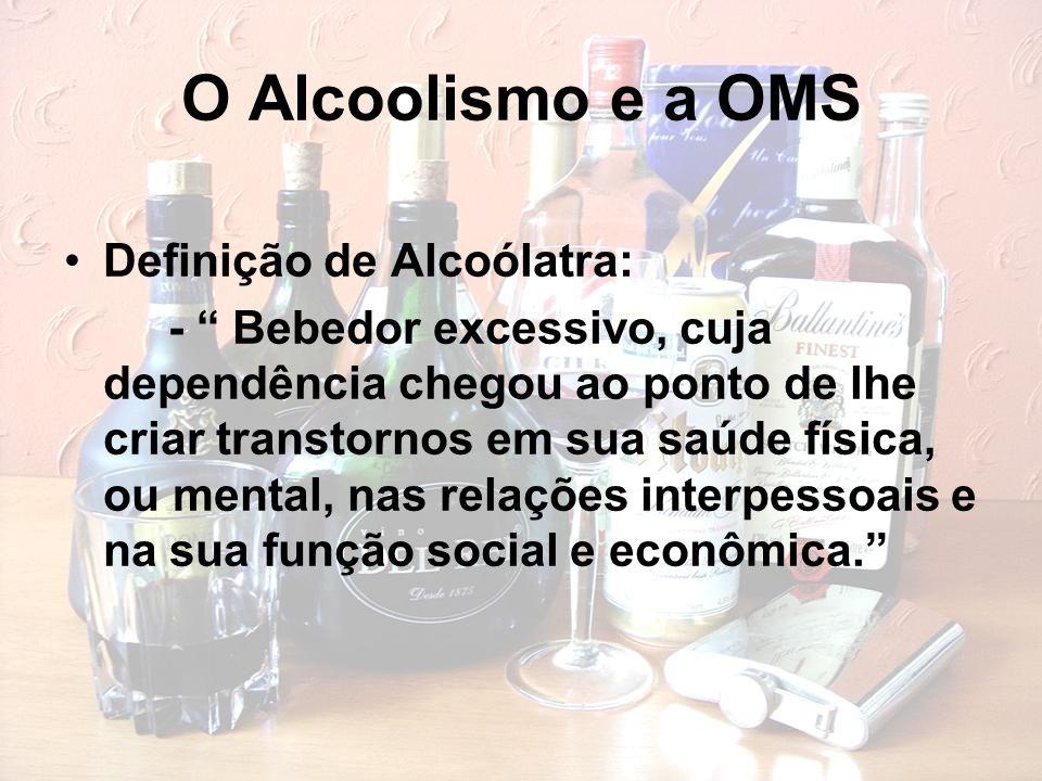 """O Alcoolismo e a OMS Definição de Alcoólatra: - """" Bebedor excessivo, cuja dependência chegou ao ponto de lhe criar transtornos em sua saúde física, ou"""