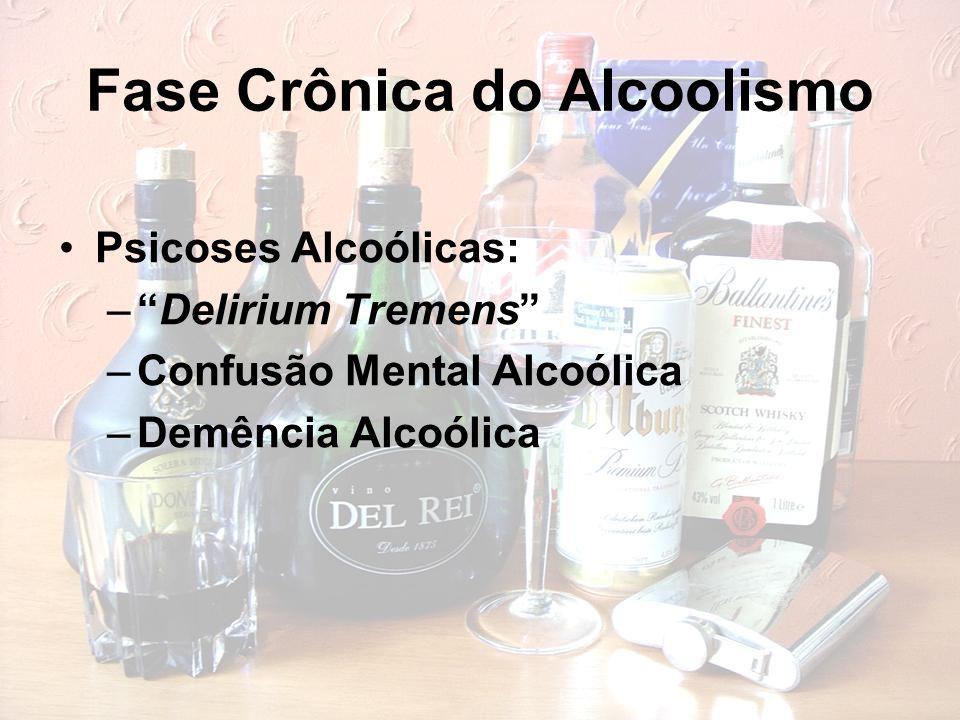"""Fase Crônica do Alcoolismo Psicoses Alcoólicas: –""""Delirium Tremens"""" –Confusão Mental Alcoólica –Demência Alcoólica"""