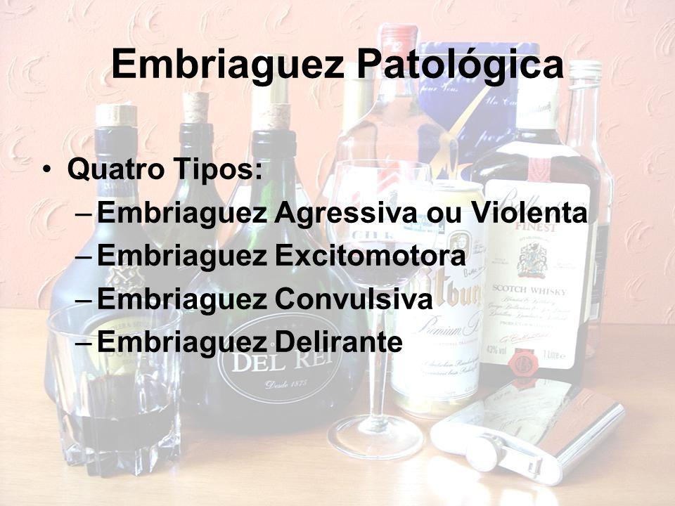 Embriaguez Patológica Quatro Tipos: –Embriaguez Agressiva ou Violenta –Embriaguez Excitomotora –Embriaguez Convulsiva –Embriaguez Delirante