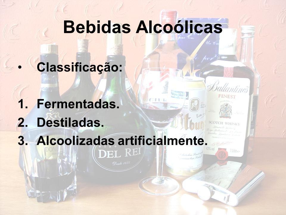 Bebidas Alcoólicas Classificação: 1.Fermentadas. 2.Destiladas. 3.Alcoolizadas artificialmente.
