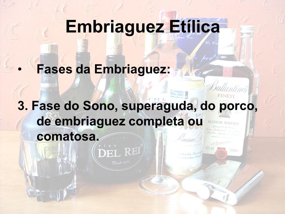 Embriaguez Etílica Fases da Embriaguez: 3. Fase do Sono, superaguda, do porco, de embriaguez completa ou comatosa.