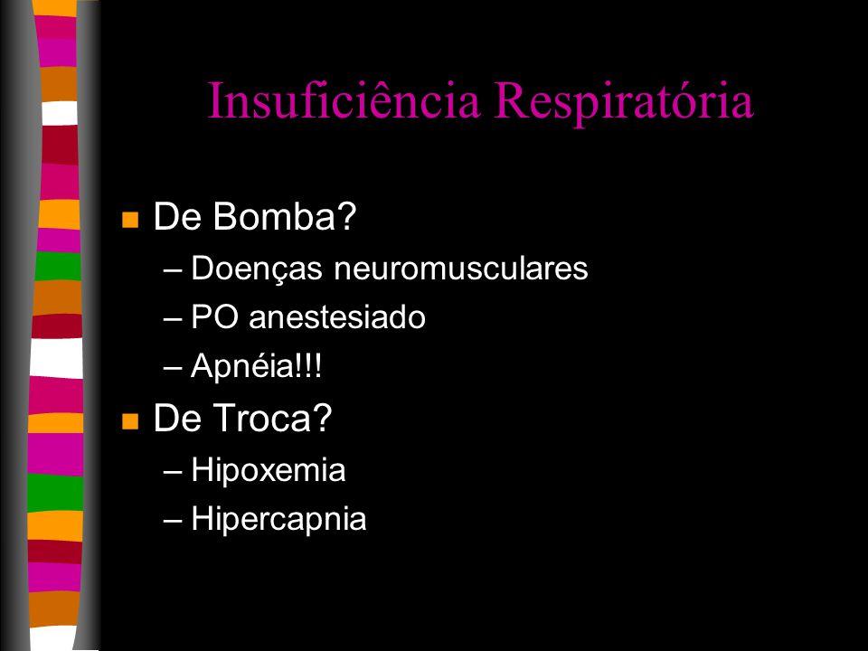 Insuficiência Respiratória n De Bomba.–Doenças neuromusculares –PO anestesiado –Apnéia!!.