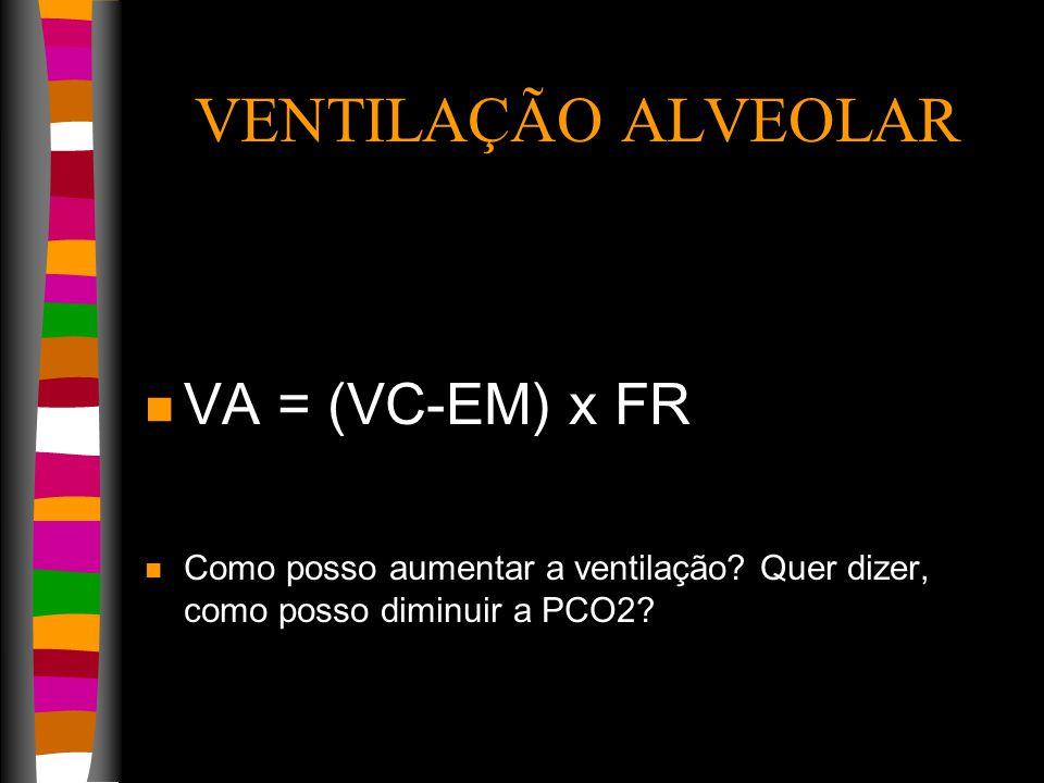VENTILAÇÃO ALVEOLAR n VA = (VC-EM) x FR n Como posso aumentar a ventilação.