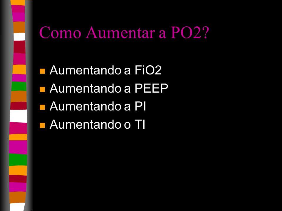 Como Aumentar a PO2? n Aumentando a FiO2 n Aumentando a PEEP n Aumentando a PI n Aumentando o TI