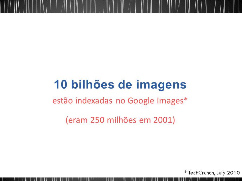 estão indexadas no Google Images* (eram 250 milhões em 2001) * TechCrunch, July 2010