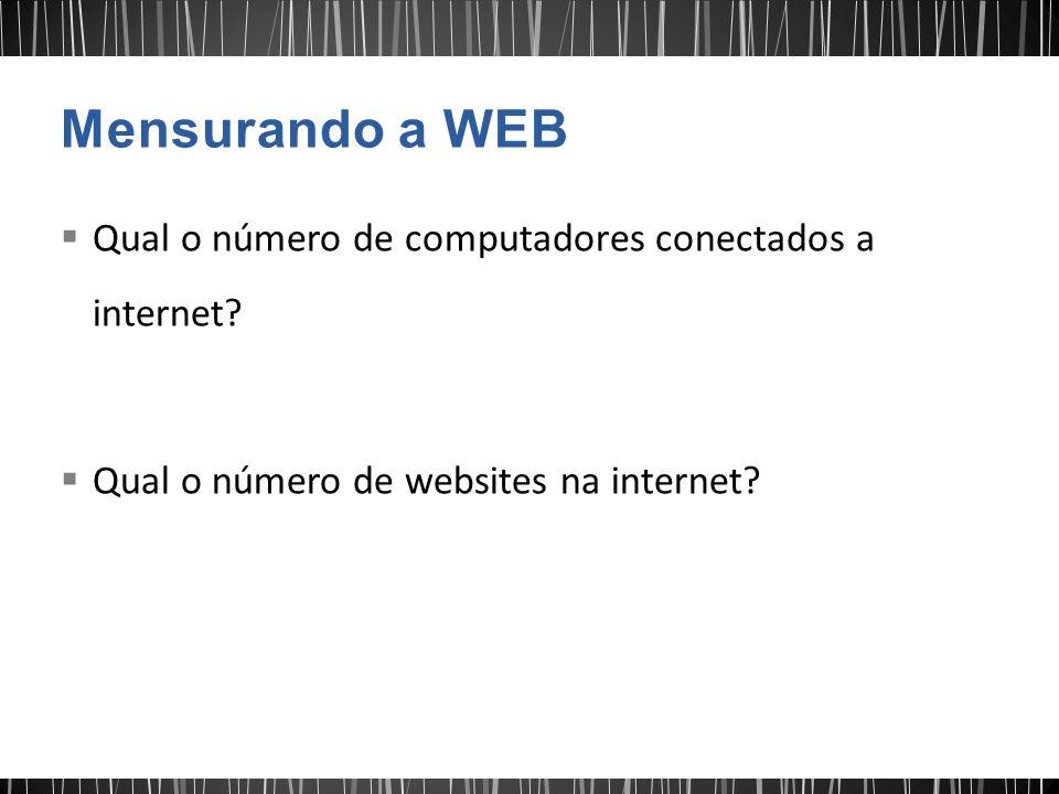  Qual o número de computadores conectados a internet?  Qual o número de websites na internet?