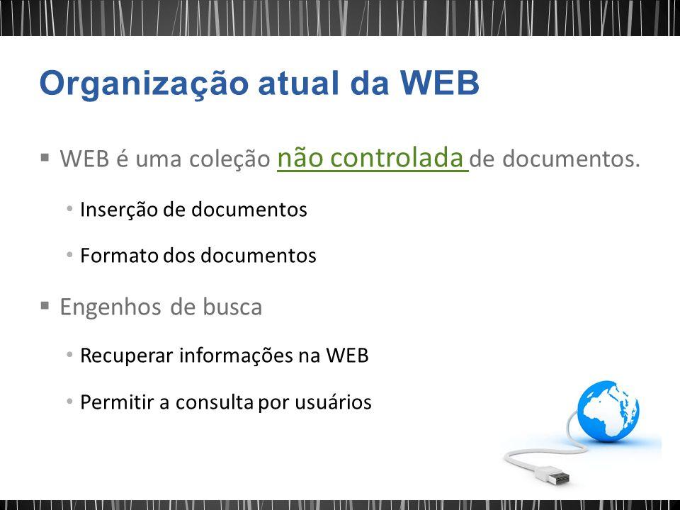 WEB é uma coleção não controlada de documentos. Inserção de documentos Formato dos documentos  Engenhos de busca Recuperar informações na WEB Permi