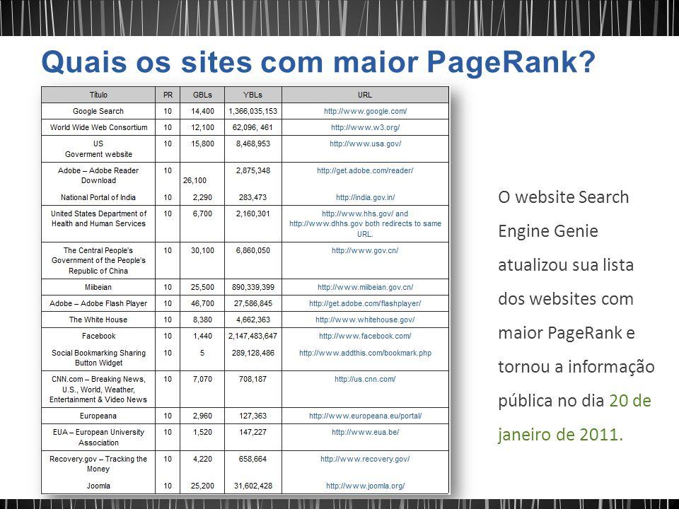 O website Search Engine Genie atualizou sua lista dos websites com maior PageRank e tornou a informação pública no dia 20 de janeiro de 2011.