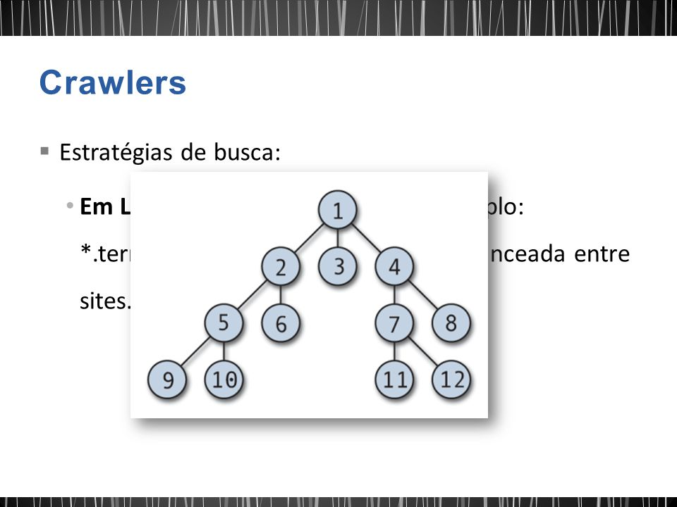  Estratégias de busca: Em Largura com sufixo de URL - Exemplo: *.terra.com.br. Garante cobertura balanceada entre sites. Técnica bastante utilizada.