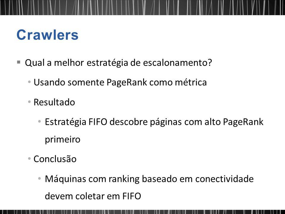  Qual a melhor estratégia de escalonamento? Usando somente PageRank como métrica Resultado Estratégia FIFO descobre páginas com alto PageRank primeir