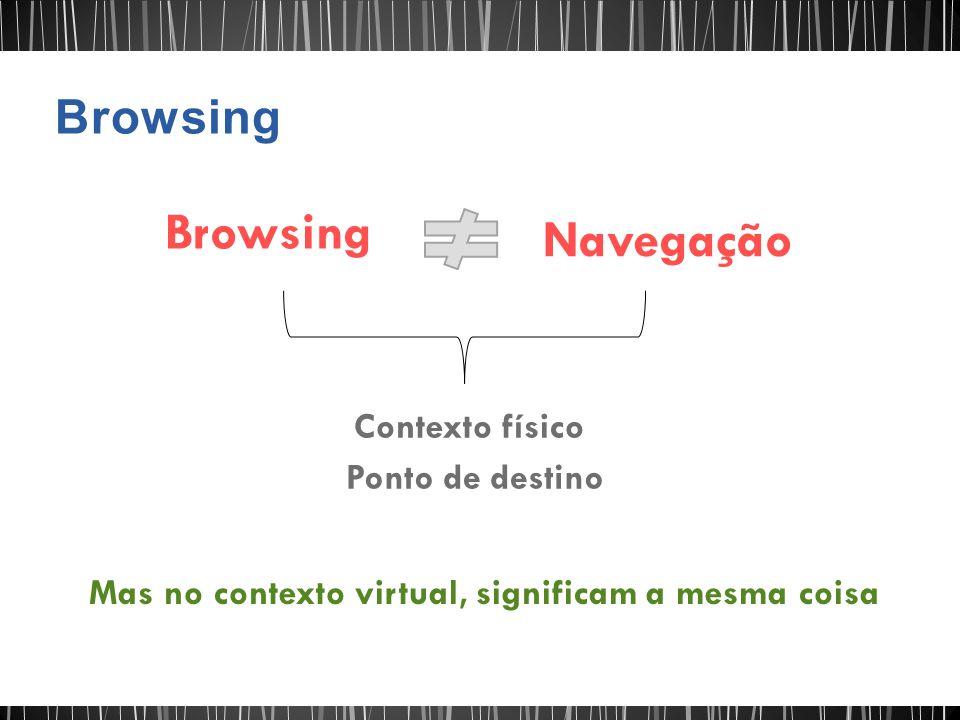 Browsing Navegação Contexto físico Ponto de destino Mas no contexto virtual, significam a mesma coisa