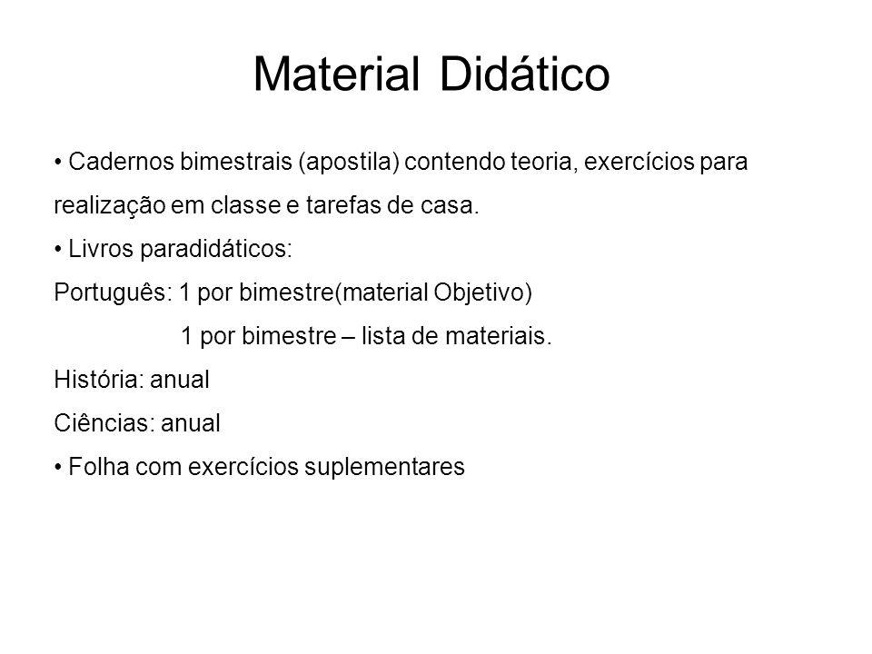 Cadernos bimestrais (apostila) contendo teoria, exercícios para realização em classe e tarefas de casa. Livros paradidáticos: Português: 1 por bimestr
