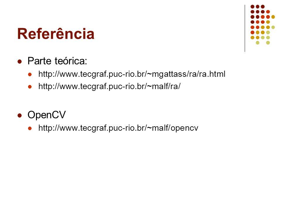 Referência Parte teórica: http://www.tecgraf.puc-rio.br/~mgattass/ra/ra.html http://www.tecgraf.puc-rio.br/~malf/ra/ OpenCV http://www.tecgraf.puc-rio.br/~malf/opencv