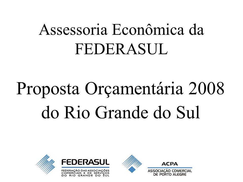 Assessoria Econômica da FEDERASUL Proposta Orçamentária 2008 do Rio Grande do Sul