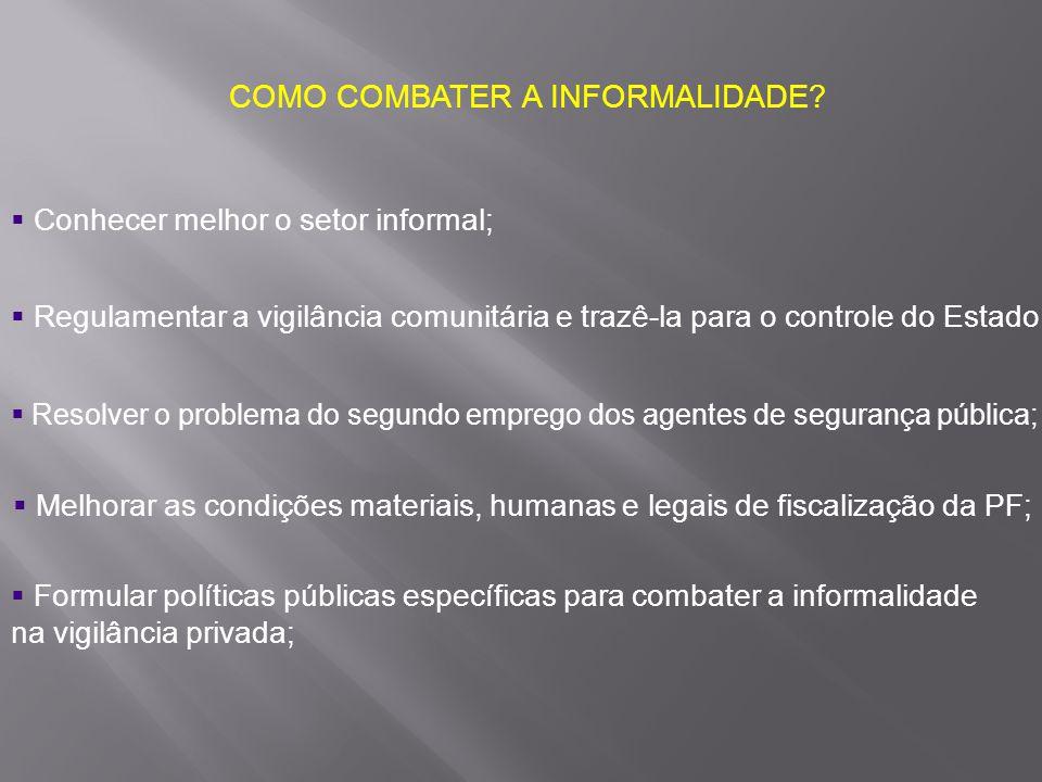 COMO COMBATER A INFORMALIDADE?  Conhecer melhor o setor informal;  Regulamentar a vigilância comunitária e trazê-la para o controle do Estado;  Mel