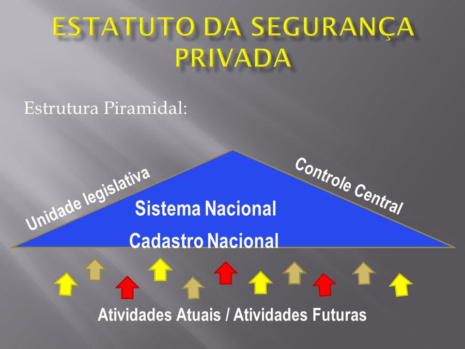 Estrutura Piramidal: Sistema Nacional Cadastro Nacional Unidade legislativa Controle Central Atividades Atuais / Atividades Futuras