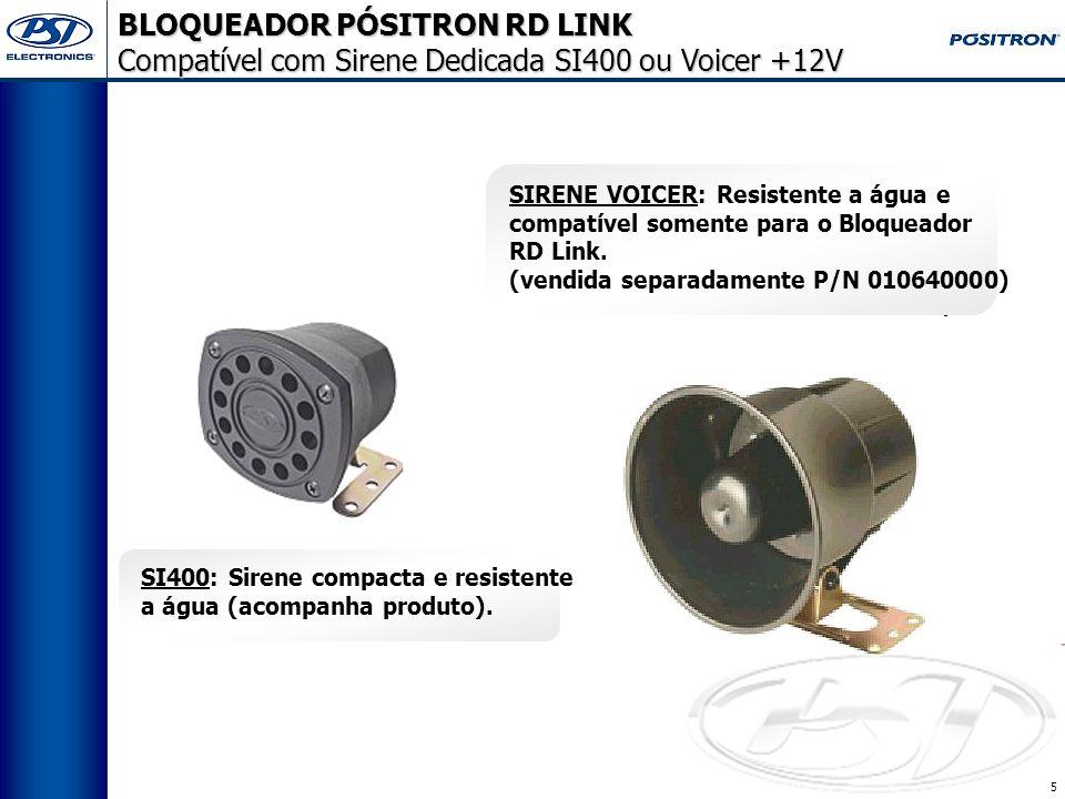 4 Pode ser instalado em motocicletas ou automóveis; Módulo, sirene resistentes à água; Possui disparo sonoro e indicação visual por setas; Bloqueio passivo (Ignição e Porta); Imobilização segura do veículo (bloqueio progressivo); Acionamento através de qualquer telefone; Central de Atendimento 24 horas, sete dias por semana; Menor custo do mercado (produto e serviço PST); Aceita sirene +12 Volts ou sirene Voicer resistente a água (opcional); * Envio de comandos (bloqueio e desbloqueio) via radiofreqüência RDS; Transferível de um veículo para outro; Desconto no seguro do veículo;** Instalação simples e rápida; Garantia de 2 anos ou estendida enquanto o serviço estiver contratado.*** * A sirene Voicer é vendida separadamente pela Pósitron.