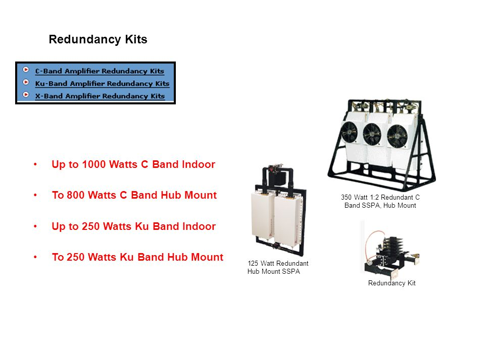 Redundancy Kits 350 Watt 1:2 Redundant C Band SSPA, Hub Mount 125 Watt Redundant Hub Mount SSPA Redundancy Kit Up to 1000 Watts C Band Indoor To 800 Watts C Band Hub Mount Up to 250 Watts Ku Band Indoor To 250 Watts Ku Band Hub Mount