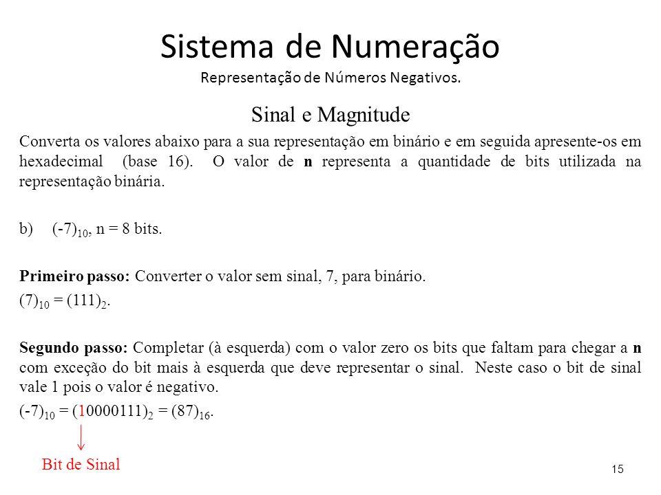 Sistema de Numeração Representação de Números Negativos. Sinal e Magnitude Converta os valores abaixo para a sua representação em binário e em seguida