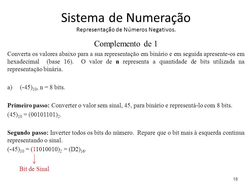 Sistema de Numeração Representação de Números Negativos. Complemento de 1 Converta os valores abaixo para a sua representação em binário e em seguida