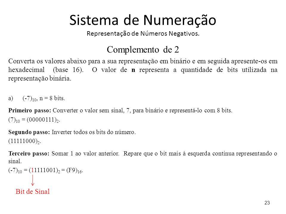 Sistema de Numeração Representação de Números Negativos. Complemento de 2 Converta os valores abaixo para a sua representação em binário e em seguida