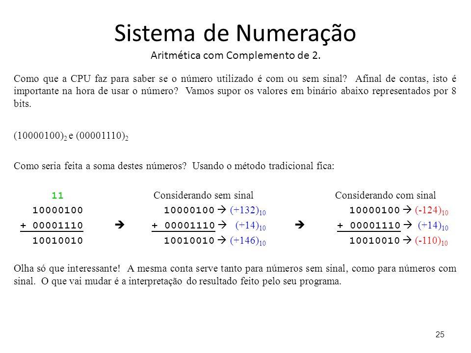 Sistema de Numeração Aritmética com Complemento de 2. Como que a CPU faz para saber se o número utilizado é com ou sem sinal? Afinal de contas, isto é