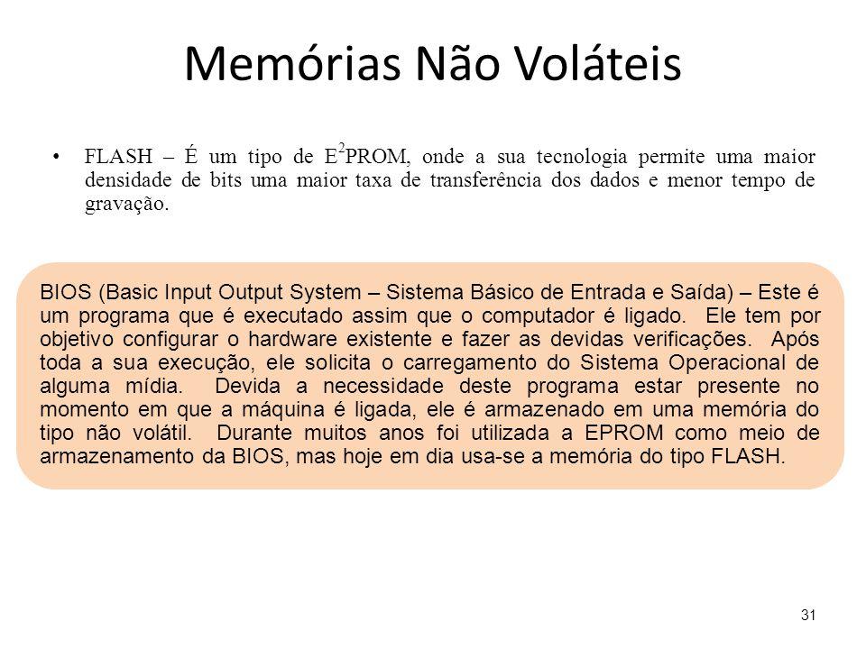 Memórias Não Voláteis FLASH – É um tipo de E 2 PROM, onde a sua tecnologia permite uma maior densidade de bits uma maior taxa de transferência dos dad