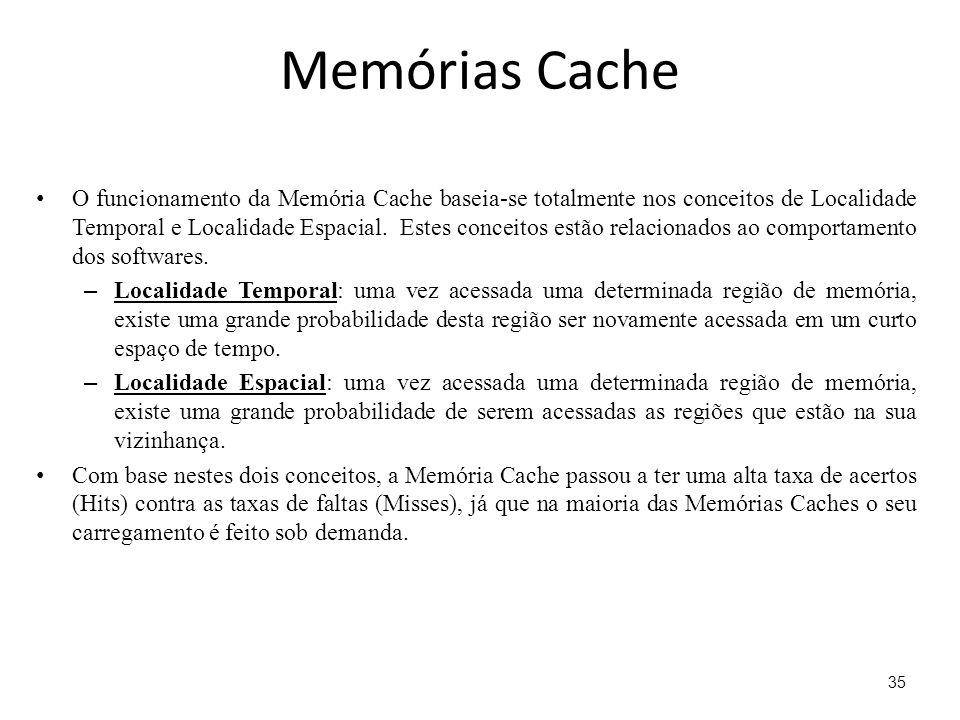 Memórias Cache O funcionamento da Memória Cache baseia-se totalmente nos conceitos de Localidade Temporal e Localidade Espacial. Estes conceitos estão