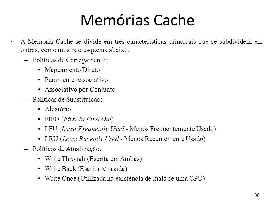 Memórias Cache A Memória Cache se divide em três características principais que se subdividem em outras, como mostra o esquema abaixo: – Políticas de