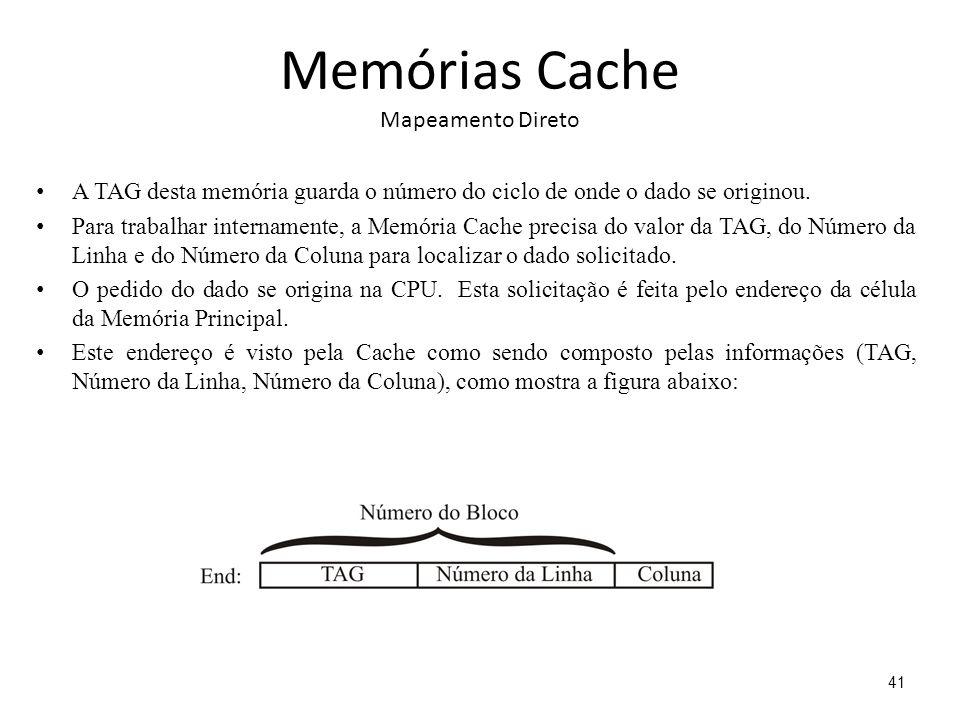 Memórias Cache Mapeamento Direto A TAG desta memória guarda o número do ciclo de onde o dado se originou. Para trabalhar internamente, a Memória Cache