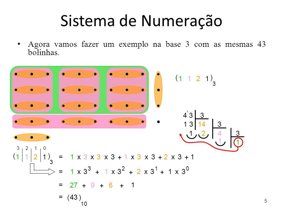 Sistema de Numeração Agora vamos fazer um exemplo na base 3 com as mesmas 43 bolinhas. 5 1211 () 3 4 33 1 314 1 3 4 23 1 1 ' 1211 () 3 = 1 3 3 3 x xx