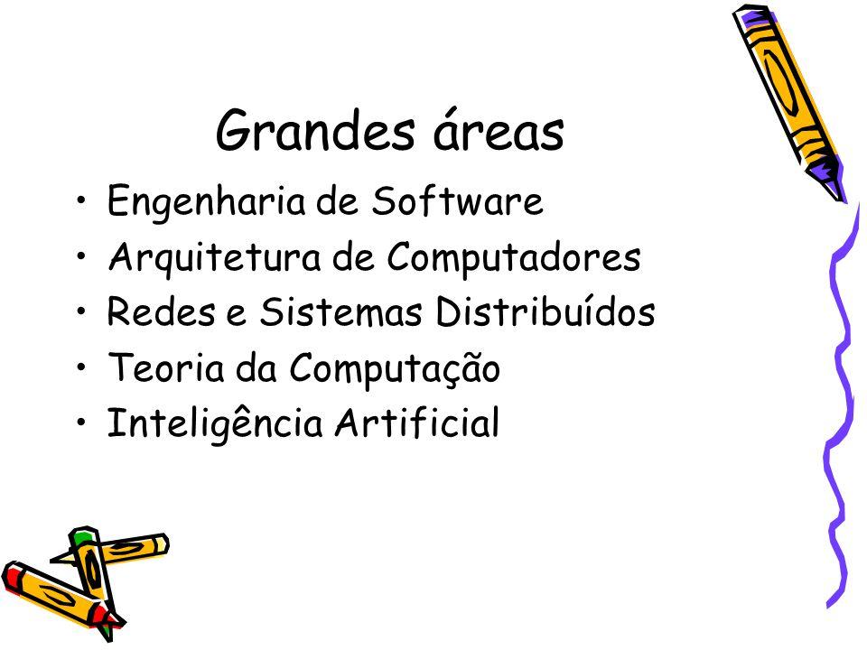 Grandes áreas Engenharia de Software Arquitetura de Computadores Redes e Sistemas Distribuídos Teoria da Computação Inteligência Artificial