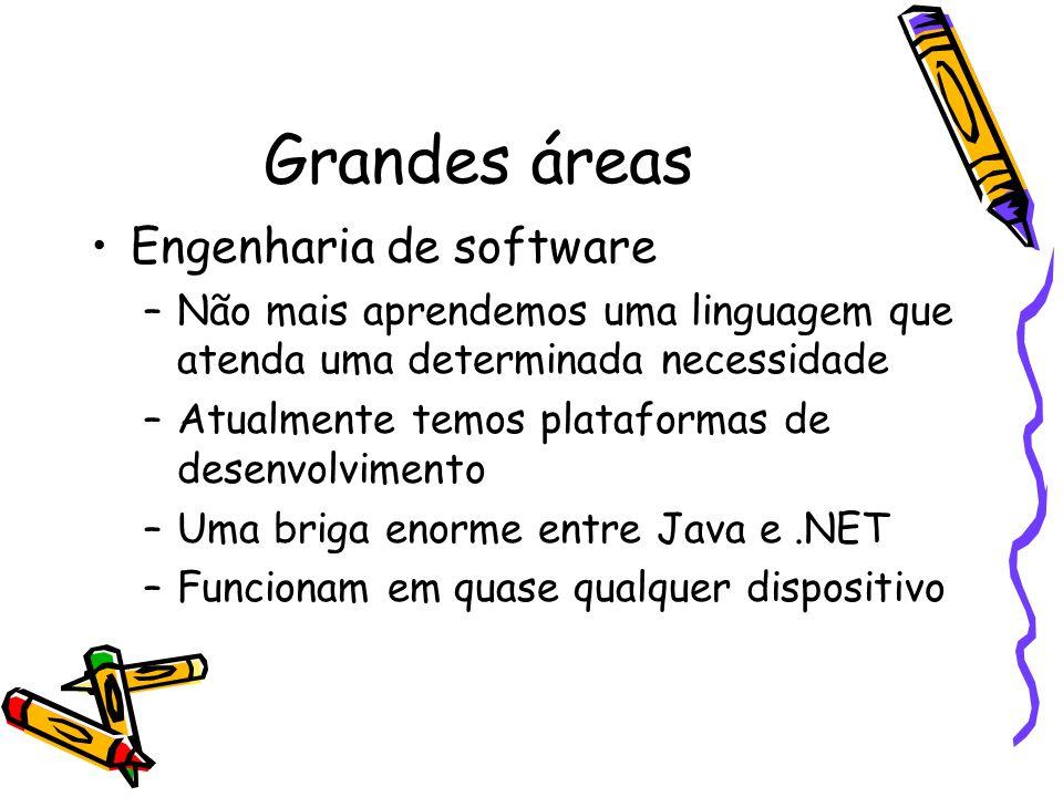 Grandes áreas Engenharia de software –Não mais aprendemos uma linguagem que atenda uma determinada necessidade –Atualmente temos plataformas de desenvolvimento –Uma briga enorme entre Java e.NET –Funcionam em quase qualquer dispositivo