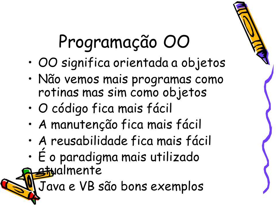 Programação OO OO significa orientada a objetos Não vemos mais programas como rotinas mas sim como objetos O código fica mais fácil A manutenção fica mais fácil A reusabilidade fica mais fácil É o paradigma mais utilizado atualmente Java e VB são bons exemplos