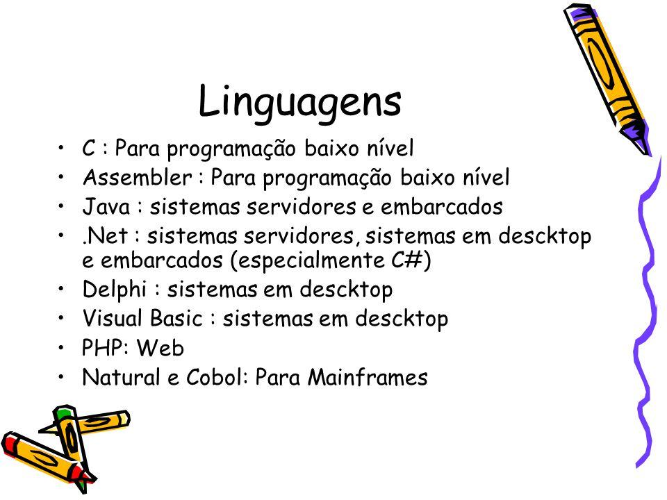 Linguagens C : Para programação baixo nível Assembler : Para programação baixo nível Java : sistemas servidores e embarcados.Net : sistemas servidores, sistemas em descktop e embarcados (especialmente C#) Delphi : sistemas em descktop Visual Basic : sistemas em descktop PHP: Web Natural e Cobol: Para Mainframes