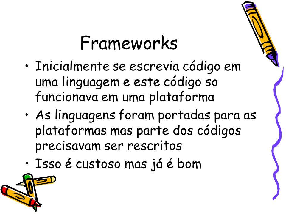 Frameworks Inicialmente se escrevia código em uma linguagem e este código so funcionava em uma plataforma As linguagens foram portadas para as plataformas mas parte dos códigos precisavam ser rescritos Isso é custoso mas já é bom