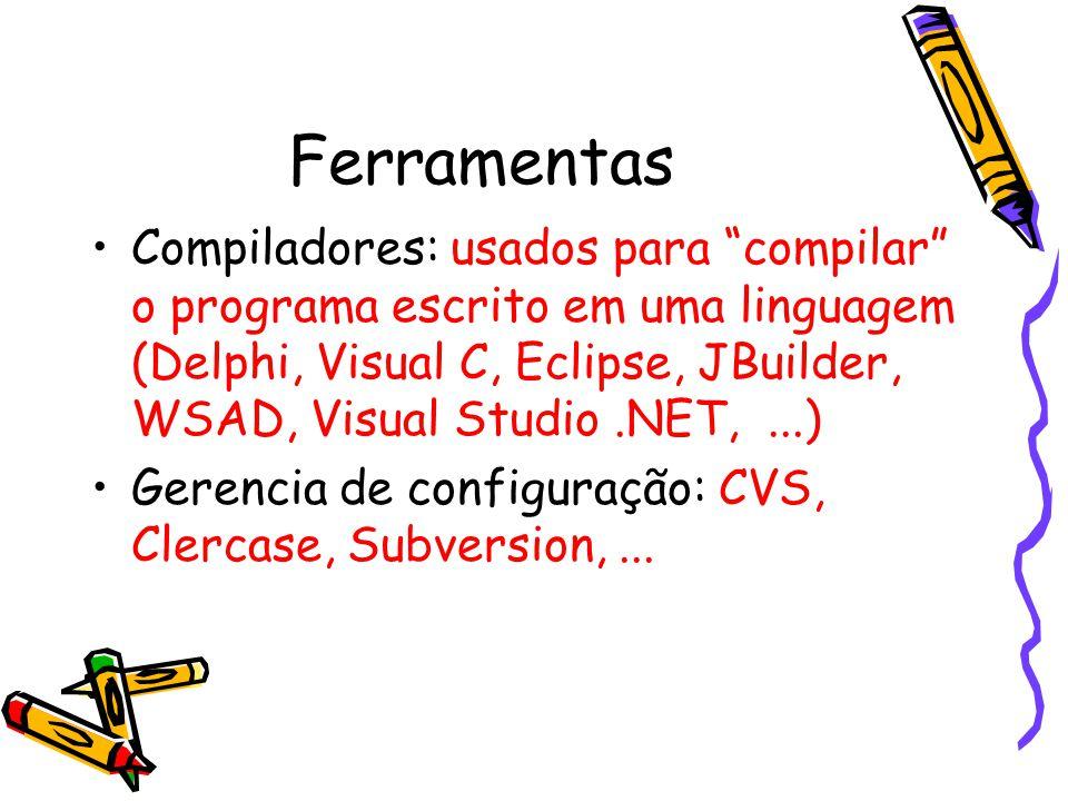 Ferramentas Compiladores: usados para compilar o programa escrito em uma linguagem (Delphi, Visual C, Eclipse, JBuilder, WSAD, Visual Studio.NET,...) Gerencia de configuração: CVS, Clercase, Subversion,...